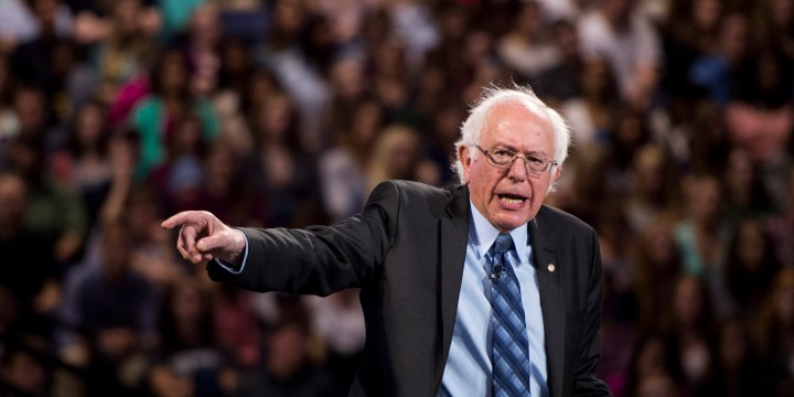 Presidential candidate Sen. Bernie Sanders speaks at Liberty University